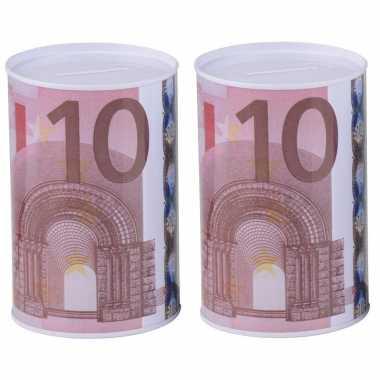 2x spaarpotten 10 euro biljet 13 x 15 cm