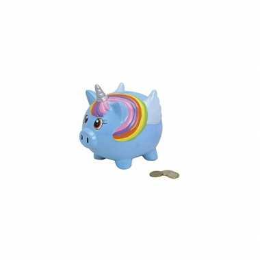 Blauwe eenhoorn spaarpot 15 cm