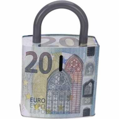 Blauwe spaarpot 20 euro biljet 25 cm