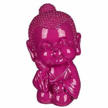 Boeddha spaarpot roze 13 cm
