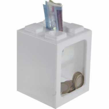 Bouwstenen spaarpot wit 11 cm