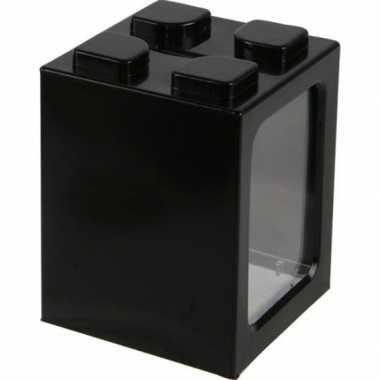 Bouwstenen spaarpot zwart 11 cm