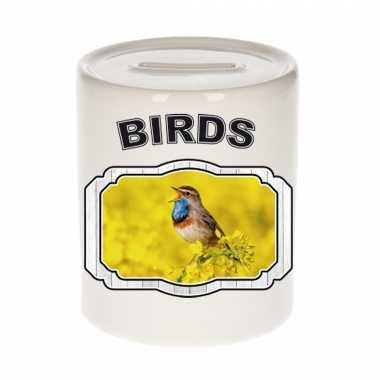 Dieren blauwborst vogel spaarpot - birds/ vogels spaarpotten kinderen 9 cm