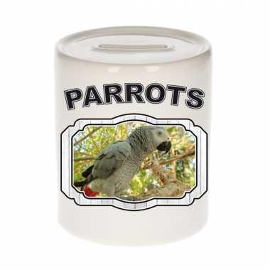 Dieren grijze roodstaart papegaai spaarpot - parrots/ papegaaien spaarpotten kinderen 9 cm