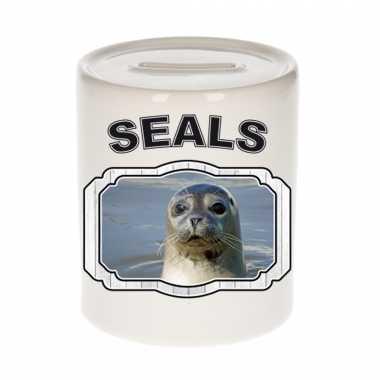 Dieren grijze zeehond spaarpot - seals/ zeehonden spaarpotten kinderen 9 cm