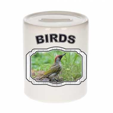 Dieren groene specht spaarpot - birds/ vogels spaarpotten kinderen 9 cm