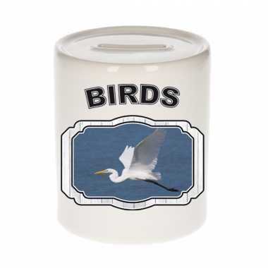 Dieren grote zilverreiger spaarpot - birds/ vogels spaarpotten kinderen 9 cm