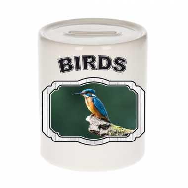 Dieren ijsvogel zittend spaarpot - birds/ vogels spaarpotten kinderen 9 cm