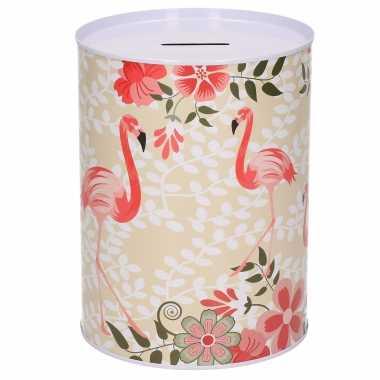 Dieren spaarpot flamingo met bloemen metaal 12 x 16 cm