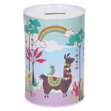 Dieren spaarpot lama/alpaca met regenboog metaal 12 x 16 cm