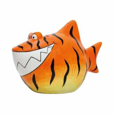 Dieren spaarpot oranje tijgerhaai 13 cm