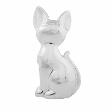 Dieren spaarpot zilveren siamese kat/poes 21 cm