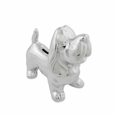 Dieren spaarpot zilveren teckel hond 18 cm