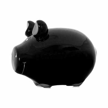 Dieren spaarpot zwart varken/big 12 cm