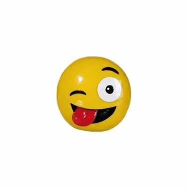 Emoticon knipoog tong spaarpot 13 cm