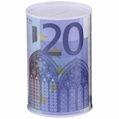Geld spaarpot 20 euro biljet 8 x 11 cm