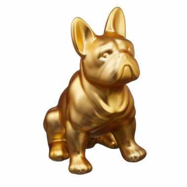 Gouden franse bulldog honden spaarpot 22 cm