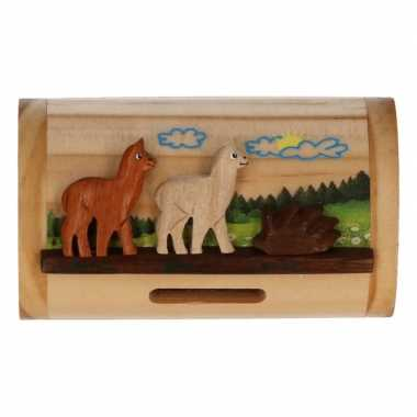 Houten spaarpot alpaca/lama 10 cm