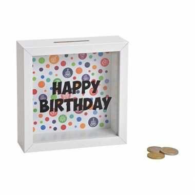 Houten witte spaarpot happy birthday met glas 15 cm