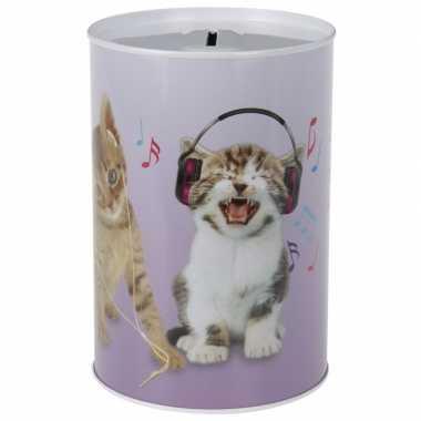 Katten/poezen met koptelefoon spaarpot 15 cm