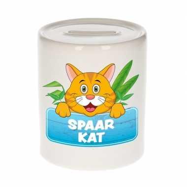 Kinder spaarpot met rode katten print 9 cm