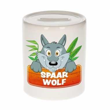 Kinder spaarpot met wolven print 9 cm