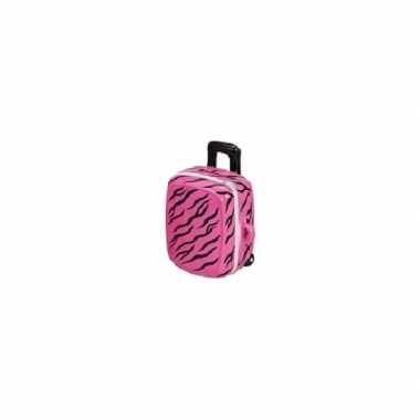 Koffer spaarpot roze met zwart