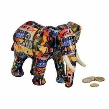 Luxe spaarpot olifant blauw van keramiek 22 cm