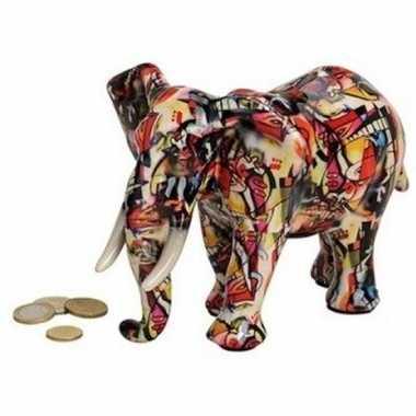 Luxe spaarpot olifant rood van keramiek 22 cm