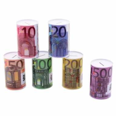 Metalen spaarpot 500 euro biljet 8 x 15 cm