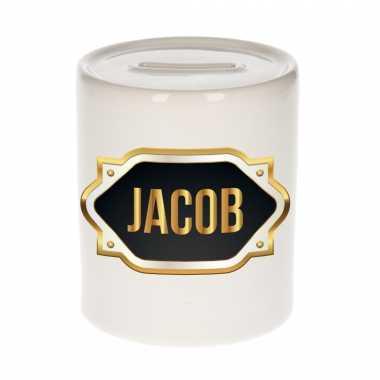 Naam cadeau spaarpot jacob met gouden embleem