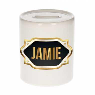 Naam cadeau spaarpot jamie met gouden embleem
