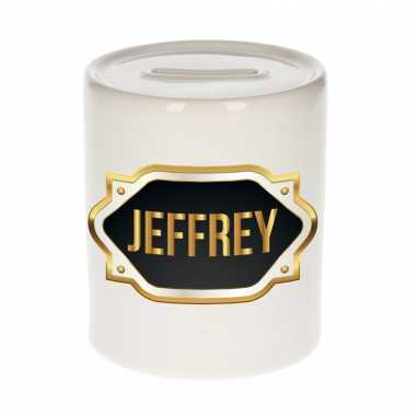 Naam cadeau spaarpot jeffrey met gouden embleem