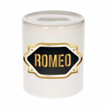Naam cadeau spaarpot romeo met gouden embleem