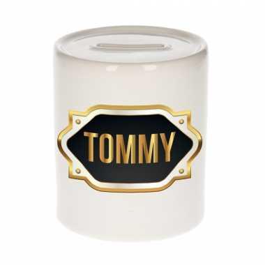 Naam cadeau spaarpot tommy met gouden embleem
