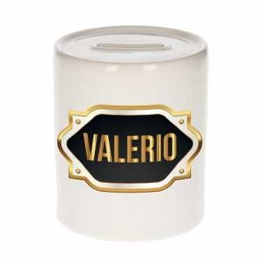 Naam cadeau spaarpot valerio met gouden embleem