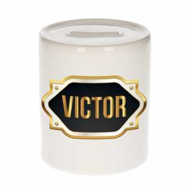 Naam cadeau spaarpot victor met gouden embleem