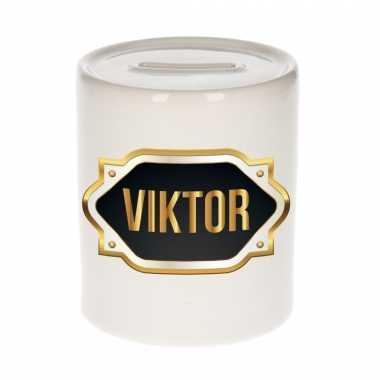 Naam cadeau spaarpot viktor met gouden embleem