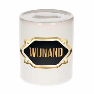 Naam cadeau spaarpot wijnand met gouden embleem