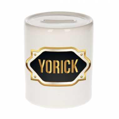 Naam cadeau spaarpot yorick met gouden embleem