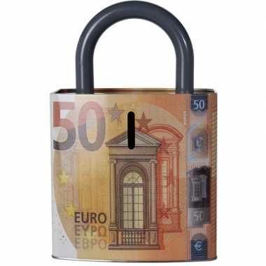 Oranje spaarpot 50 euro biljet 25 cm