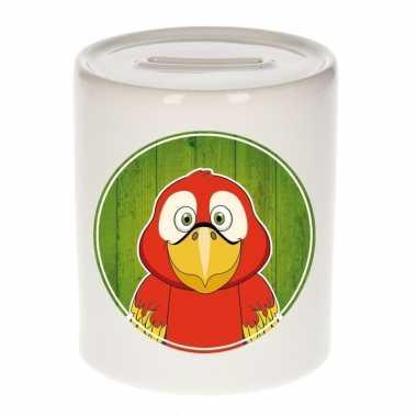 Papegaaien spaarpot voor kinderen 9 cm