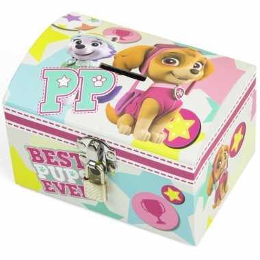 Paw patrol mint/roze kinder spaarpot/geldkistje 14 x 10 cm