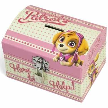 Paw patrol roze kinder spaarpot/geldkistje 14 x 10 cm