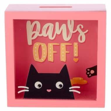 Roze raam spaarpot met zwarte kat/poes 18 cm