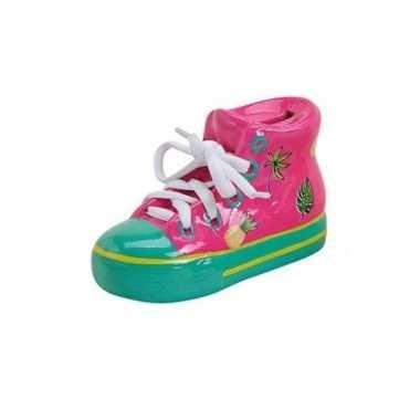 Roze schoen spaarpot 14 cm