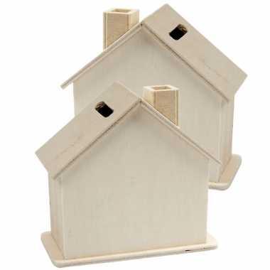 Set van 4x stuks beschilderbare hobby/knutsel spaarpot houten huisjes 10 cm