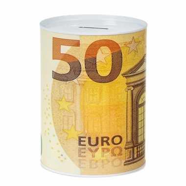 Spaarpot 50 euro biljet print metaal 13 x 16 cm