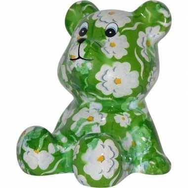 Spaarpot beer groen met witte bloemen 16 cm