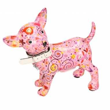 Spaarpot chihuahua hond lichtroze met bloemen/hartjes/retro print 21 cm